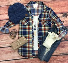Penny Plaid Flannel Top: Blue/Beige from privityboutique