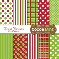 COCOA MINT Festive Christmas papers