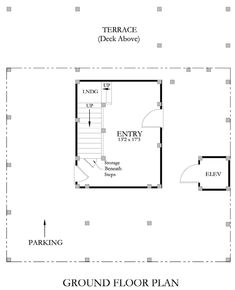 The transitional beach cottage is uniquely designed with an inverted floor plan with the sleeping quarters: 3 bedrooms, 2 full bathrooms, laundry facilities, and a study situated on the floor. An interior staircase and a passenger elevator. Parking Plan, Interior Staircase, Beach House Plans, Porch Area, Covered Decks, Ground Floor Plan, Coastal Homes, Second Floor