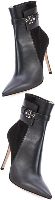 Gianvito Rossi Leather Stretch-Back Ankle Boot, Black LOOKandLOVEwithLOLO