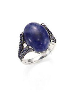 John Hardy - Batu Classic Chain Sodalite & Blue Sapphire Celestial Orb Ring