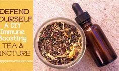 DIY Immune Boosting Tea & Tincture ingredients & recipe. The Hippy Homemaker