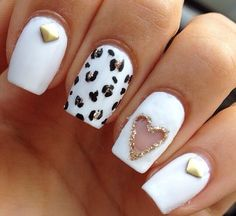 Cute nails with open space heart<3