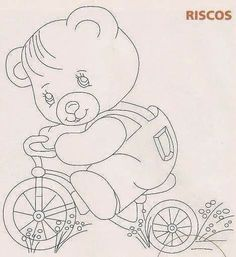 Fabric painting, screen painting, Risk and drawings to paint and crafts Punch Needle Patterns, Applique Patterns, Applique Quilts, Quilt Patterns, Teddy Bear Coloring Pages, Cute Coloring Pages, Baby Painting, Fabric Painting, Quilting Designs