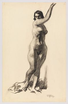 Edward Hopper, Standing Female Nude with Arm Raised, 1920-25