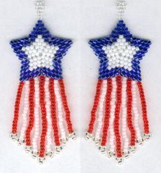 fourth of july jewelry bead design | PATRIOTIC Shooting Star 4th of July earrings