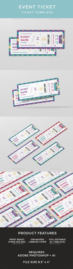 Elegant Multipurpose Event Ticket  Ticket Template Event Ticket
