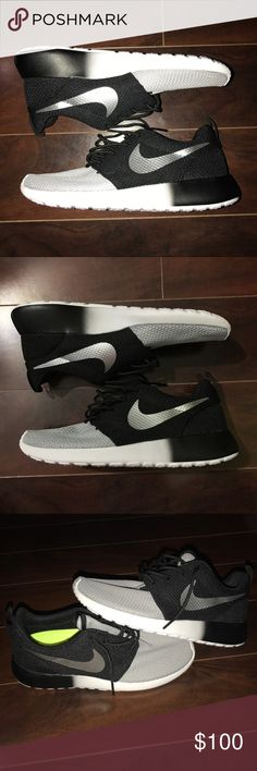 NWOB Nike roshe roshes black grey silver white These where costume made on NikeID. Brand new. Does not come with box but I can get a shoe box if you request one. Authentic!! If you don't believe they are real then look somewhere else, my reviews speak for themselves. Comfortable and cute. Open to offers. NO LOW BALLING. And NO TRADING. Thank you! Nike Shoes Sneakers
