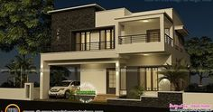 Floor plan and elevation of 4 bedroom modern flat roof house by Dream Homes, Tamilnadu, India