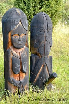 Statues of Frya and Frey Ancient Goddesses, Gods And Goddesses, Viking Facts, Medieval, Germanic Tribes, Viking Age, Viking Woman, Pagan Art, Tree Carving