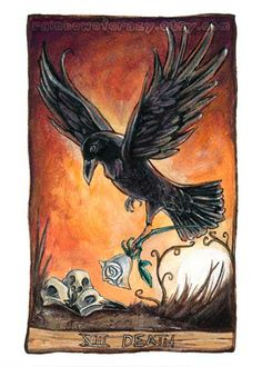 Raven Print Death Tarot Card Art Black Crow by rainbowofcrazy Crow Pictures, Tarot Death, Ink Link, Raven Art, Tarot Major Arcana, Cartomancy, Bird Illustration, Ouija, New Age
