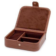 Browse this wonderful Croco Leather Jewelry Case With Snap Closure featuring genuine leather, hinged top, snap closure, cufflink or ring slots, soft velour lined. It is made of leather to carry your collections safe. Jewelry Case, Jewelry Box, Fine Jewelry, Jewellery Boxes, Jewellery Storage, Custom Gift Boxes, Leather Jewelry, Cufflinks, Caftan Dress