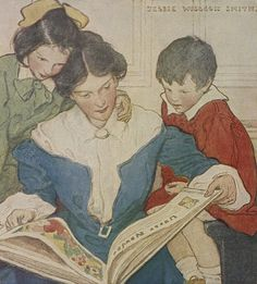 Jessie Willcox Smith American illustrator / A mother and her children reading a book, illustration from When Christmas Comes Around, 1922 - at the British Library Reading Posters, Reading Art, Woman Reading, Kids Reading, Reading Aloud, Reading People, Reading Books, American Illustration, Children's Book Illustration