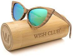 526f48b2cc8ba WISH CLUB Cat Eye Handmade Wood Frame Polarized Sunglasses for Women with UV400  Protection