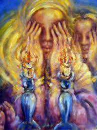 Barukh atah Adonai, Eloheinu, melekh ha'olam asher kidishanu b'mitz'votav v'tzivanu l'had'lik neir shel Shabbat. (Amein)