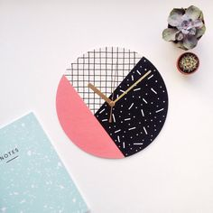 Unique wall clock | modern coral, black and white | geometric grid, polka dot, dash pattern | Memphis design