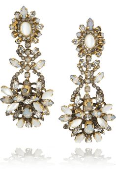 Erickson Beamon | Whiter Shade of Pale gold-plated Swarovski crystal earrings | NET-A-PORTER.COM