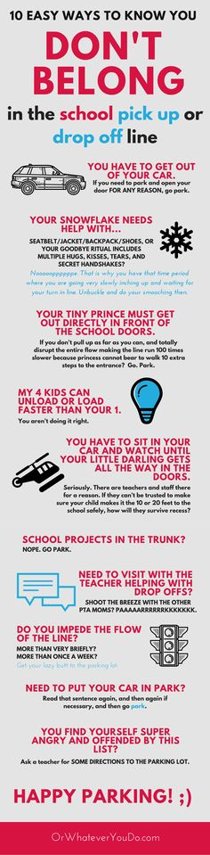 10 Ways to know you don't belong in the school drop off line. This is so funny!!