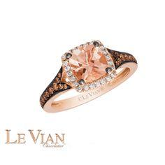 Le Vian® Peach Morganite™ Ring in 14K Strawberry Gold®, 1/3ctw