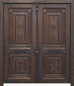 Puerta de dos hojas de estilo clásico señorial con cuatro cuarterones tallados. Elaborada con madera antigua de pino recuperada.Talla manual en cuarterones (opcional y a elegir). Cerradura de seguridad y manivela rústica incluida.Acabado anticuario con pátina de cera. Posibilidad de fabricar por encargo a medida, en cualquier madera y acabado.