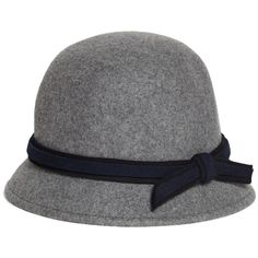 Brooks Brothers Bucket Cloche Hat (125 CAD) ❤ liked on Polyvore featuring accessories, hats, grey, felt hat, gray brim hats, gray hat, brooks brothers hats and brimmed hat