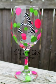 Personalized Wine Glass with Zebra Print  Initial 20 oz Party Bachelorette Wedding Bride Birthday on Etsy, $16.00