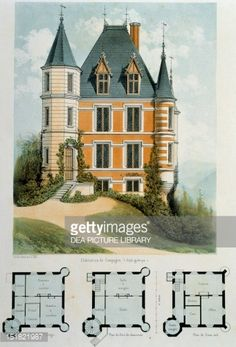 Fine art : Gothic-style country house, lithograph taken from Parcs et Jardins des environs de Paris by Victor Petit, France, 19th century