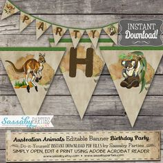 Go Wild! It's an Australian Animals Party Banner that you can edit & print yourself. Australian Party, Australian Animals, Birthday Party Decorations, Birthday Parties, Theme Parties, 10th Birthday, Birthday Ideas, Party Co, Australia Day