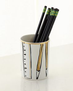 Shop Daisy Place Pencil Cup from kate spade new york at Horchow, where you'll find new lower shipping on hundreds of home furnishings and gifts. Pencil Cup, Pencil Boxes, Black Pencil, Office Makeover, Pen Holders, Pencil Holder, Pottery Designs, Office Accessories, Retail Shop