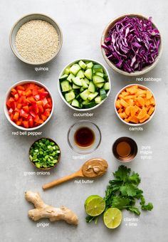 Crunchy Thai Quinoa Salad recipe features a colorful mix of veggies and tossed with a quick and easy creamy almond dressing for a delicious and addicting vegan lunch, dinner or meal prep! #healthyrecipes #veganrecipes #plantbased Qinuoa Recipes, Quinoa Recipes Easy, Quinoa Salad Recipes, Vegetable Recipes, Whole Food Recipes, Healthy Recipes, Vegetarian Recipes, Vegan Recepies, Vegans