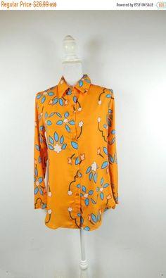 6eabd33d SPRING SALE Vintage Neon Bright Orange Blue Floral Flower Print Oversized  Bold Button Up Long Sleeve Shirt Top Blouse Sz Small