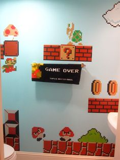 super mario bros. bathroom. will take this to daughter's room one day!