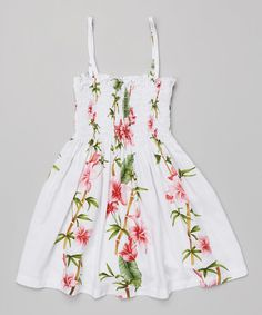 Look at this #zulilyfind! White & Pink Floral Shirred Dress - Toddler & Girls by Robert J. Clancey #zulilyfinds