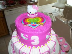 Adriana's 3rd Birthday cake! Hello Kitty!