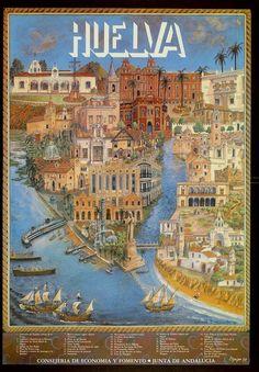 Cartel antiguo de Huelva, España.