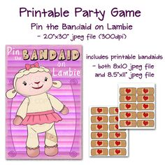 Doc McStuffins Party Game! Printable DIY Pin the bandaid on the Plush by onelovedesignsllc, $12.50