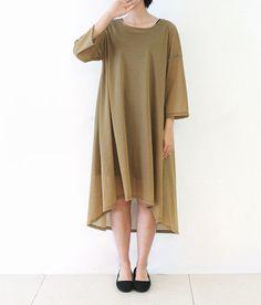 Womens Long Dress Silk Linen Blend Loose Fit Casual Dress Thin 3/4 Sleeve