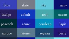 Name Every Shade of the Rainbow With This 'Color Thesaurus green color names - Green Things Green Color Names, Green Colors, Blue Shades Colors, Shades Of Green, Wardrobe Color Guide, Backyard Party Decorations, Interior Design Classes, Color Meanings, New Names