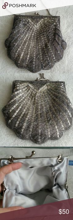 "Vintage Small Shell Bag Vintage small night bag It has removable metal strap So clean and stylish Measurements 6.5"" x 6"" X trade Vintage Bags Clutches & Wristlets"