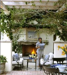 Rustic outdoor fireplace, the vines, absolutely perfect. fireplace and hot tub. New fabric for living room great place to relax! Outdoor Living Rooms, Outside Living, Outdoor Dining, Outdoor Decor, Outdoor Lounge, Dining Area, Porches, Rustic Outdoor Fireplaces, Relax
