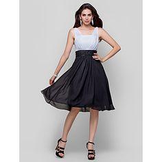 povratak kući koktel party haljina plus veličine-line / princeza remenima za zatezanje koljena duljine šifon – USD $ 109.99