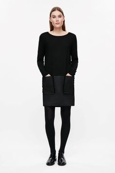 COS image 1 of Merino dress with frill pockets in Black