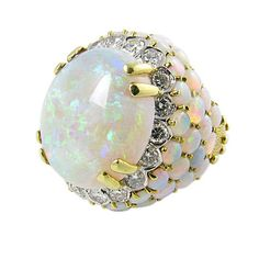 Vintage opal and diamonds ring, 1960