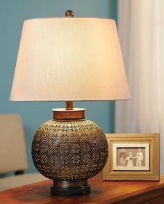 "Metal Lace Table Lamp - Acacia 24"" 159.95 16"" diameter"