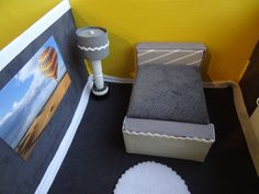 DIY miniature bedroom in grey, white and yellow