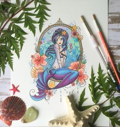 A personal favourite from my Etsy shop https://www.etsy.com/uk/listing/545533585/mermaid-little-mermaid-tattoo-style-art