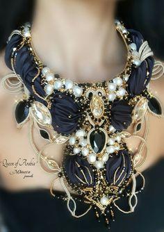 ' Queen of Arabia ' necklace - shibori silk , bead embroidery , soutache -  Mhoara Jewels