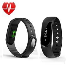 Fitness Tracker with Heart Rate MonitorVRunow Smart Armband Bracelet Wristband Wireless with Bluetooth Vertical  Horizontal Touch ScreenMusic controlCompatible with iPhone IOS and Android phone * You can find more details by visiting the image link.