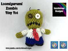 Loomigurumi Zombie Tiny Tot Halloween Figure - hook only - amigurumi with Rainbow Loom Bands - YouTube