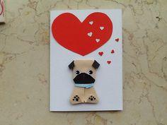 Origami pug Card, Handmade Card, Dog Lovers, Pug card, Birthday card pug